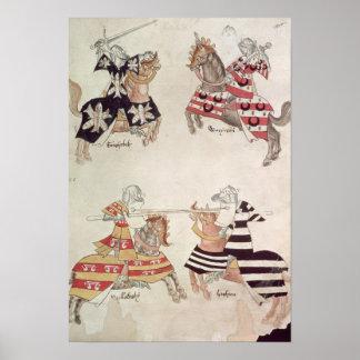 Caballeros Jousting, de Book de sir Thomas Holmes Póster