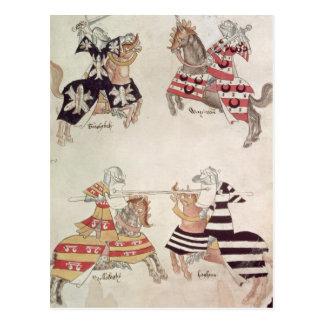 Caballeros Jousting, de Book de sir Thomas Holmes Tarjetas Postales