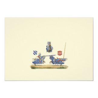 Caballeros Jousting - tema medieval Invitación 12,7 X 17,8 Cm