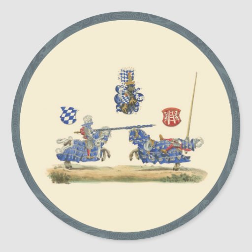 Caballeros Jousting - tema medieval Etiqueta Redonda