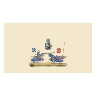 Caballeros Jousting - tema medieval Plantilla De Tarjeta De Visita
