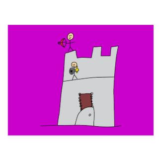 Caballeros lindos con el arco y flecha y espada en tarjeta postal