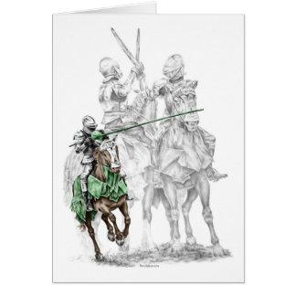 Caballeros medievales del renacimiento tarjeta de felicitación