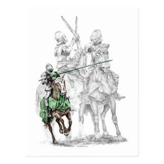 Caballeros medievales del renacimiento postal