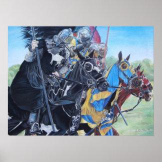 caballeros medievales jousting en arte histórico póster