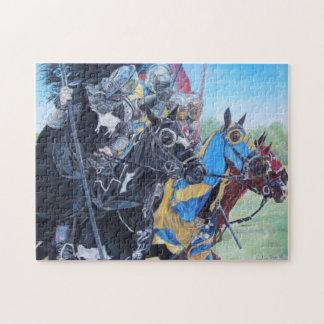 caballeros medievales jousting en arte histórico puzzle