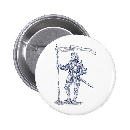 caballeros templar con la espada y el escudo pin