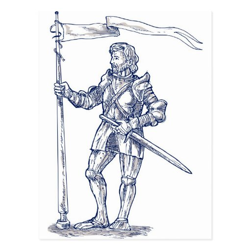 caballeros templar con la espada y el escudo tarjeta postal