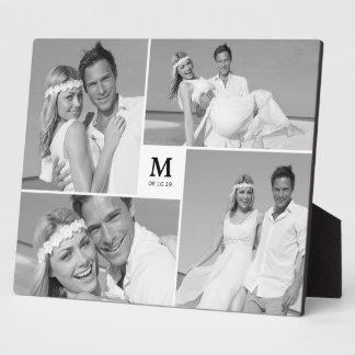 Caballete intemporal de la foto del boda del placas con foto