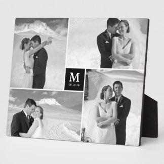Caballete intemporal de la foto del boda del placas de madera