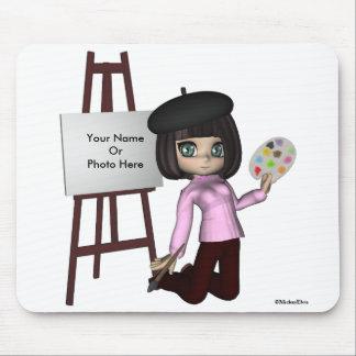 Caballete Mousepad del chica del artista Tapetes De Ratones