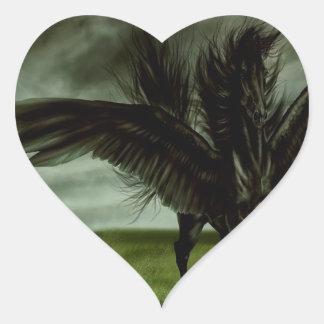 Caballo abstracto Pegassus de los diablos de la Pegatina En Forma De Corazón