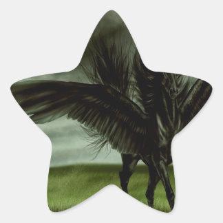 Caballo abstracto Pegassus de los diablos de la Pegatina En Forma De Estrella