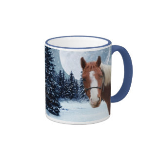Caballo americano de la pintura del invierno taza de café