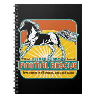 Caballo animal del rescate libro de apuntes con espiral