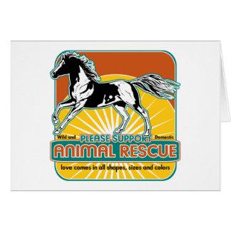 Caballo animal del rescate tarjeta de felicitación