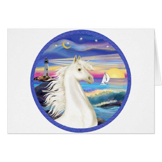 Caballo árabe blanco del Roca-Mar Tarjeta De Felicitación