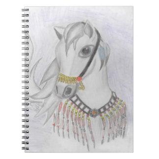 Caballo árabe en traje indio en lápiz del color cuadernos