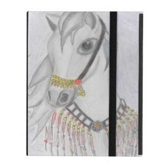 Caballo árabe en traje indio en lápiz del color