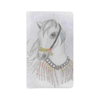 Caballo árabe en traje indio en lápiz del color funda para libreta y libreta grande moleskine