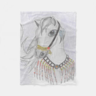 Caballo árabe en traje indio en lápiz del color manta de forro polar