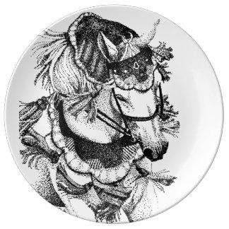 Caballo árabe en traje plato de cerámica
