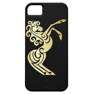 Caballo artístico del efecto del oro en negro iPhone 5 carcasa