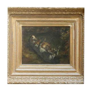 Caballo atacado por la leona de Eugene Delacroix Azulejo Cuadrado Pequeño