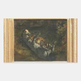 Caballo atacado por la leona de Eugene Delacroix Pegatina Rectangular