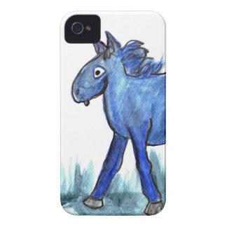 Caballo azul - acuarela caprichosa iPhone 4 carcasa