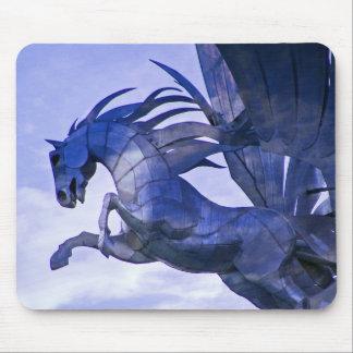 Caballo azul con el cojín de ratón de las nubes alfombrilla de ratones