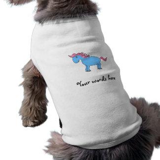 Caballo azul con la melena rosada playera sin mangas para perro