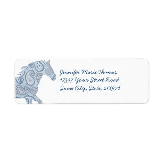 Caballo azul de Paisley Etiqueta De Remite