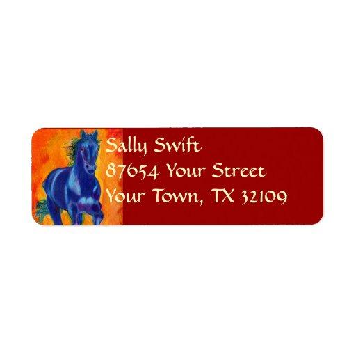Caballo azul etiquetas de remite