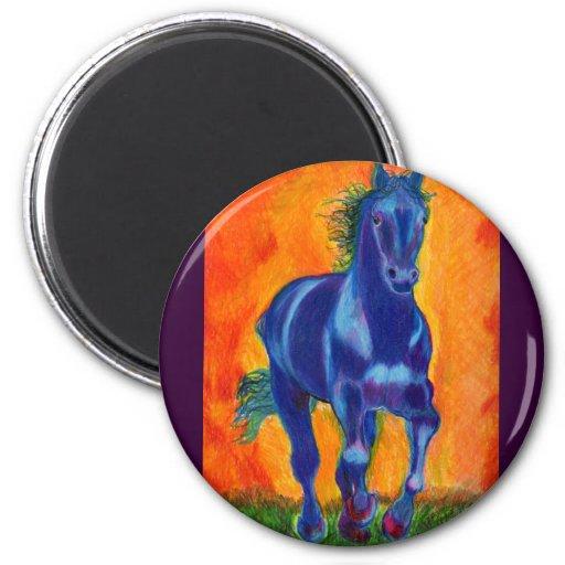 Caballo azul imán redondo 5 cm