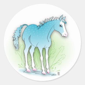 caballo azul pegatina redonda