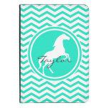Caballo blanco; Aguamarina Chevron verde Funda De Kindle 4