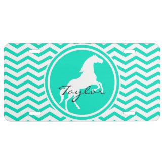 Caballo blanco; Aguamarina Chevron verde Placa De Matrícula