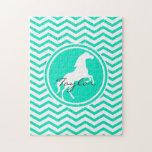 Caballo blanco; Aguamarina Chevron verde Puzzle