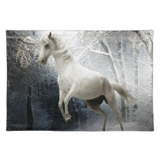 Caballo blanco de la fantasía mantel individual