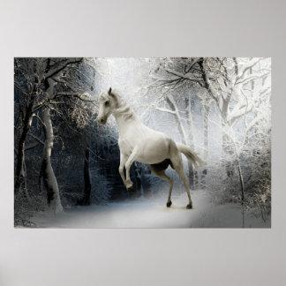 Caballo blanco de la fantasía impresiones
