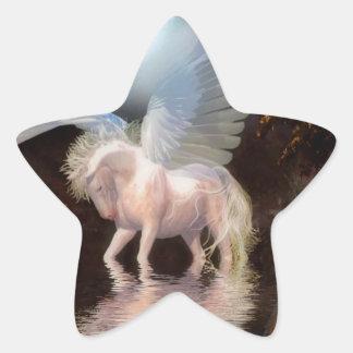 Caballo blanco del ángel abstracto calcomanía forma de estrella personalizadas