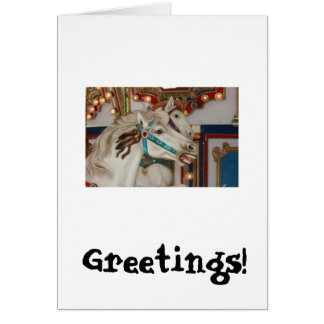 Caballo blanco del carrusel con la imagen azul del tarjeta de felicitación
