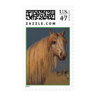 Caballo blanco del semental árabe salvaje del timbres postales