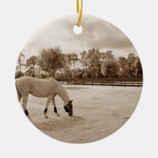 caballo blanco en pasto que pasta sepia ornamento de navidad