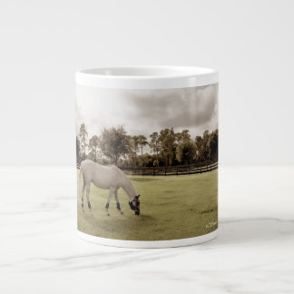 caballo blanco en pasto que pasta viejo estilo taza grande