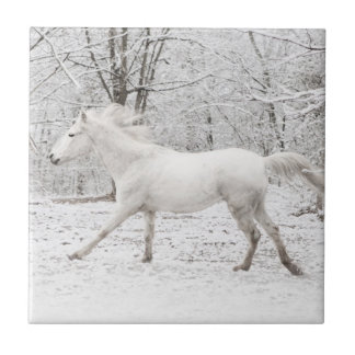 Caballo blanco galopante en la nieve teja  ceramica