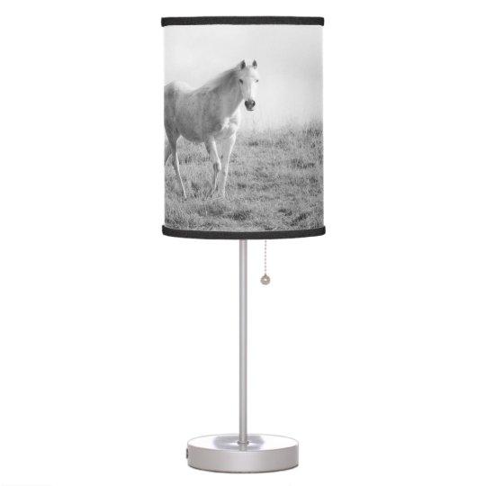 Caballo blanco monocromático lámpara de escritorio