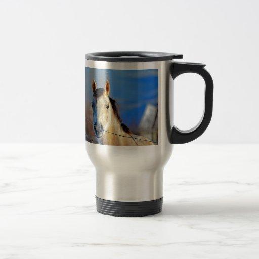 Caballo blanco taza de viaje de acero inoxidable