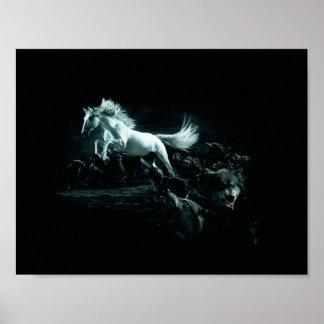 Caballo blanco y el ataque de lobos salvajes póster